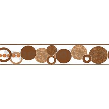 Samolepiaca bordúra kruhy hnedé 5 m x 5,8 cm
