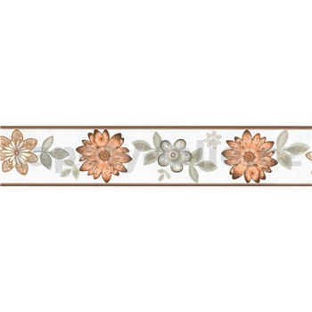 Samolepiaca bordúra kvety s lístkami hnedo-sivé 5 m x 8,3 cm