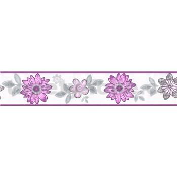 Samolepiaca bordúra kvety s lístkami fialovo-sivé 5 m x 8,3 cm