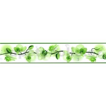 Samolepiaca bordúra kvety orchideí zelené 5 m x 5,8 cm