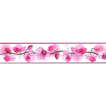 Samolepiaca bordúra kvety orchideí ružové 5 m x 5,8 cm