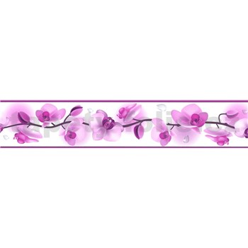 Samolepiaca bordúra kvety orchideí fialové 5 m x 5,8 cm