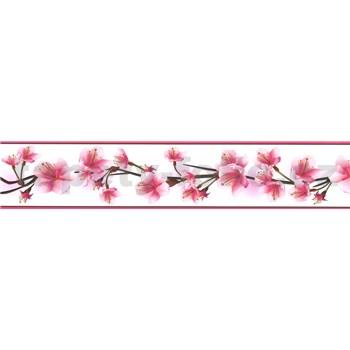 Samolepiaca bordúra čerešňové kvety ružové 5 m x 5,8 cm