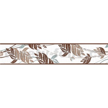 Samolepiaca bordúra popínavé listy hnedo-sivé 5 m x 8,3 cm