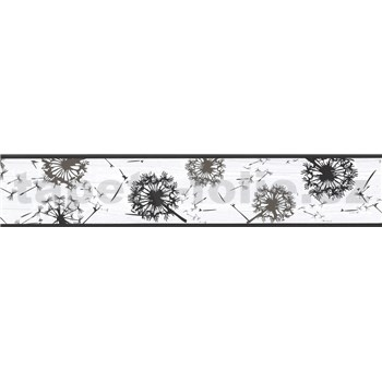 Samolepiaca bordúra púpavy sivo-čierné 5 m x 5,8 cm