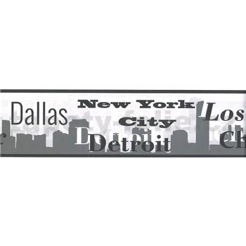 Samolepiaca bordúra s nápismi miest sivé 8,3 cm x 5 m