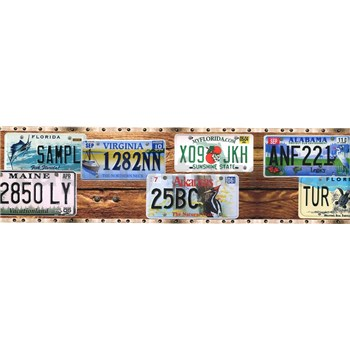 Samolepiaca bordúra poznávacie značky áut 8,3 cm x 5 m