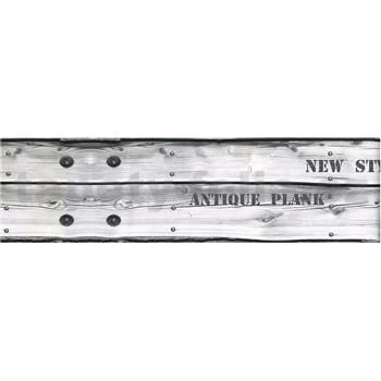 Samolepiaca bordúra drevo sivé s nápismi 8,3 cm x 5 m