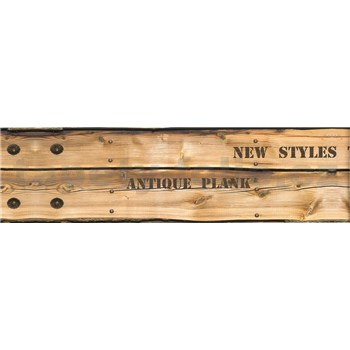 Samolepiaca bordúra drevo hnedé s nápismi 8,3 cm x 5 m