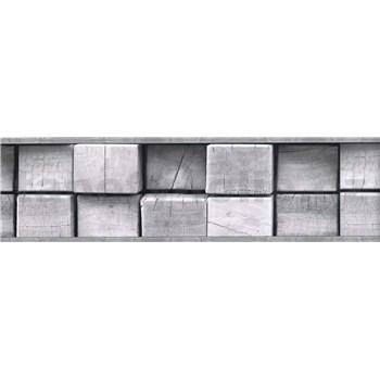 Samolepiace bordúry drevené kláty sivé 5 m x 8,3 cm