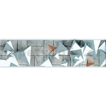 Samolepiace bordúry 3D geometrický vzor sivo-hnedý 5 m x 8,3 cm