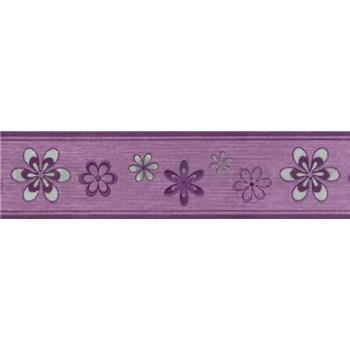 Samolepiaca bordúra kvety fialové 5 m x 5 cm