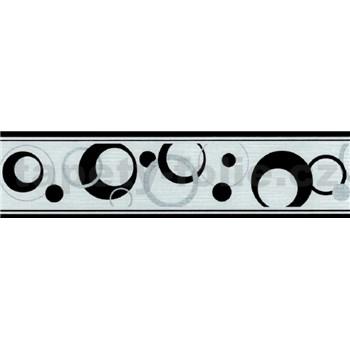 Samolepiace bordúry bubliny strieborno-čierne 5 m x 5 cm