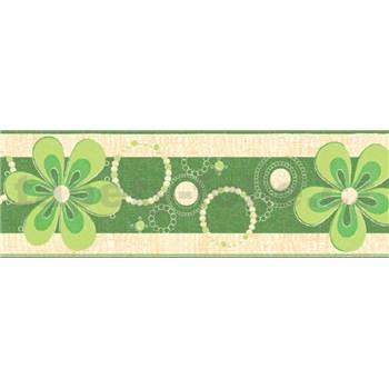 Samolepiace bordúry kvety zelené 5 m x 6,9 cm