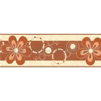 Samolepiace bordúry kvety hnedé 5 m x 6,9 cm