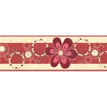 Samolepiace bordúry kvety ružovo-hnedé 5 m x 6,9 cm