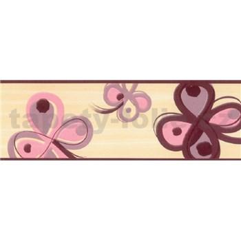 Samolepiace bordúry štvorlístok ružovo-hnedý 5 m x 6,9 cm