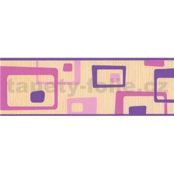 Samolepiaca bordúra abstrakt ružovo-fialový 5 m x 6,9 cm