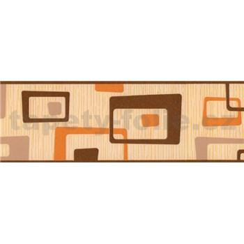 Samolepiaca bordúra abstrakt hnedo-oranžový 5 m x 6,9 cm