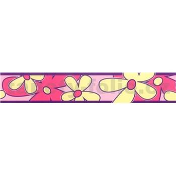 Samolepiaca bordúra - kvety ružovo-žlté 5 m x 6,9 cm