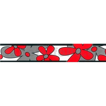 Samolepiaca bordúra - kvety červeno-sivé 5 m x 6,9 cm