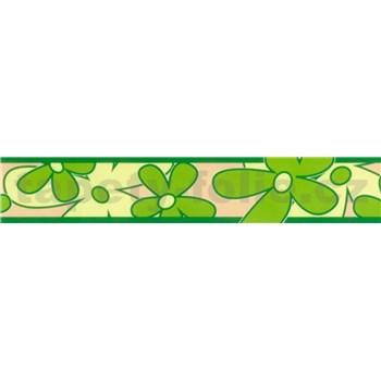 Samolepiaca bordúra - kvety zelené 5 m x 6,9 cm
