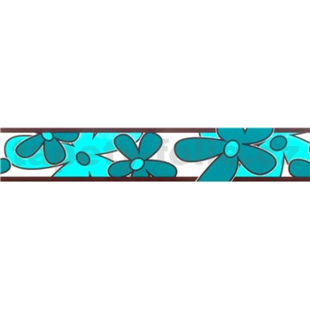 Samolepiaca bordúra - kvety tyrkysovo zelené 5 m x 6,9 cm