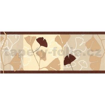 Samolepiace bordúry ginkgo listy hnedo-béžové 5 m x 6,9 cm