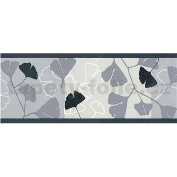 Samolepiace bordúry ginkgo listy sivo-čierne 5 m x 6,9 cm