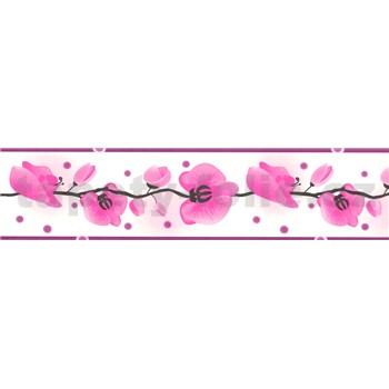 Samolepiaca bordúra - orchidea ružová 5 m x 6,9 cm