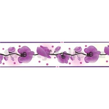 Samolepiaca bordúra - orchidea fialová 5 m x 6,9 cm