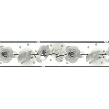 Samolepiaca bordúra - orchidea sivá 5 m x 6,9 cm