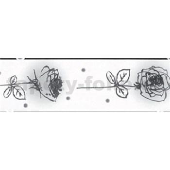 Samolepiaca bordúra - ruže čierno-biele 5 m x 6,9 cm