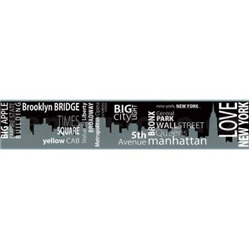 Samolepiaca bordúra New York čierno-šedá 5 m x 9,6 cm