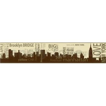 Samolepiaca bordúra New York hnedo-zlatá 5 m x 9,6 cm