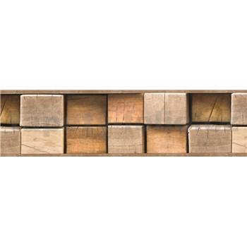 Samolepiaca bordúra drevené kláty hnedé 5 m x 8,3 cm