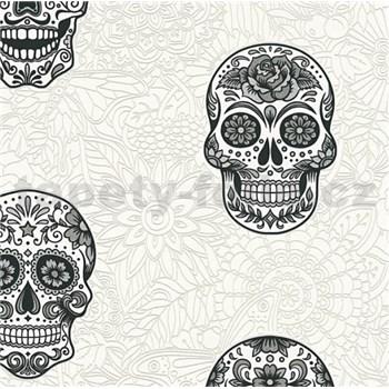 Vliesové tapety na stenu Boys & Girls lebky sivo-čierne na bielom podklade