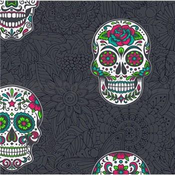 Vliesové tapety na stenu Boys & Girls lebky farebné na čiernom podklade