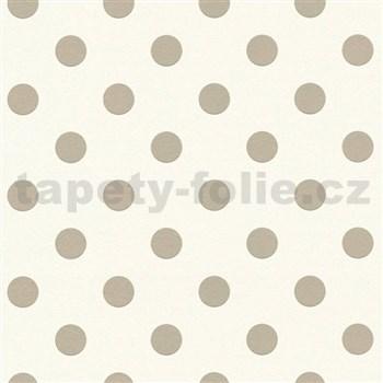 Vliesové tapety na stenu Boys & Girls bodky hnedé na bielom podklade