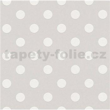 Vliesové tapety na stenu Boys & Girls bodky biele na sivom podklade