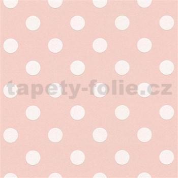 Vliesové tapety na stenu Boys & Girls bodky biele na ružovom podklade