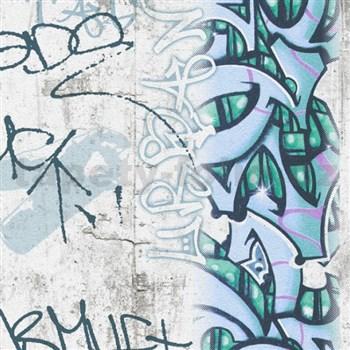 Papierové tapety na stenu Boys & Girls graffiti modrozelené