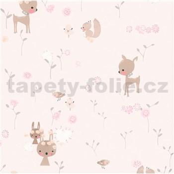 Papierové tapety na stenu Boys & Girls lesné zvieratká na ružovom podklade