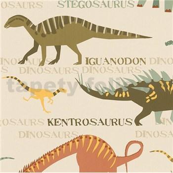 Papierové tapety Boys & Girls dinosaury farební na krémovom podklade - POSLEDNÉ KUSY