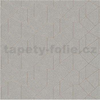 Vliesvé tapety IMPOL Carat 2 geometrický vzor strieborný s hnedými kontúrami