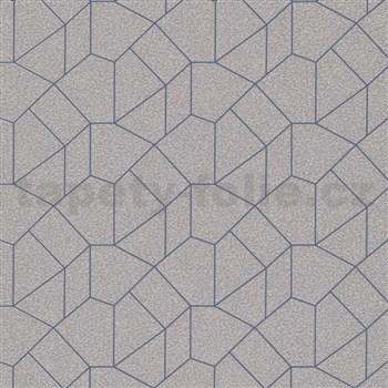 Vliesvé tapety IMPOL Carat 2 geometrický vzor zlatý s modrými kontúrami