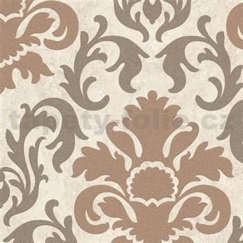 Vliesové tapety na stenu Carat zámocký vzor medený s trblietkami na svetlo hnedom podklade