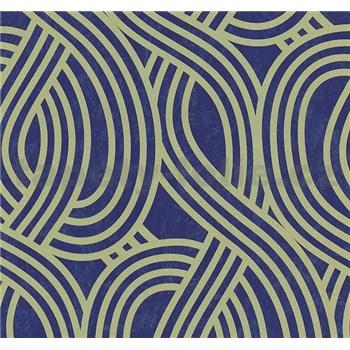 Vliesové tapety na stenu Carat moderný vzor svetlo zlatý na modrom podklade