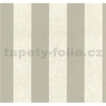 Vliesové tapety na stenu Carat pruhy svetlo hnedé a strieborné