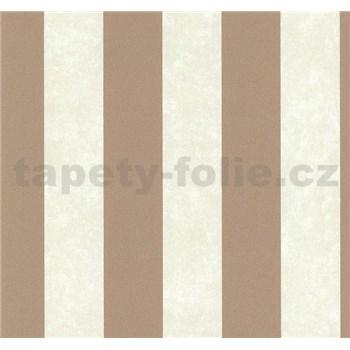 Vliesové tapety na stenu Carat pruhy svetlo hnedé a medené